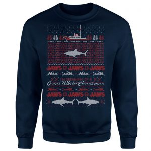 Jaws Great White Christmas Sweatshirt – Navy – S