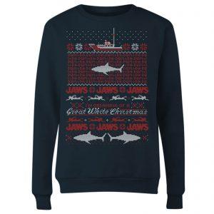 Jaws Great White Christmas Women's Sweatshirt – Navy – S – Navy