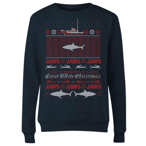 Jaws Great White Christmas Women's Sweatshirt - Navy - S - Navy