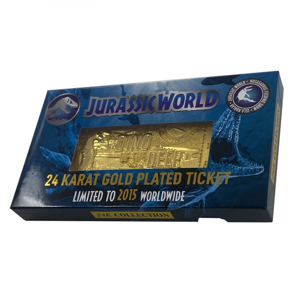 Jurassic Park 24k Gold Plated Jurassic World Mosasaurus Ticket Limited Edition Replica - Zavvi Exclusive