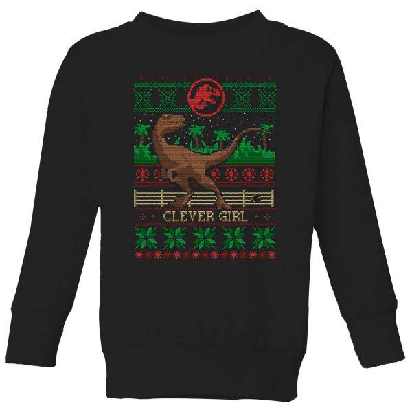 Jurassic Park Clever Girl Kids' Christmas Sweatshirt - Black - 3-4 Years