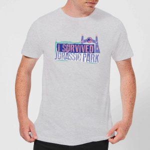 Jurassic Park I Survived Jurassic Park Men's T-Shirt – Grey – XS – Grey