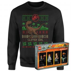 Jurassic Park Limited Edition Lego Minifigures And Christmas Jumper Bundle – Women's – 3XL – Black