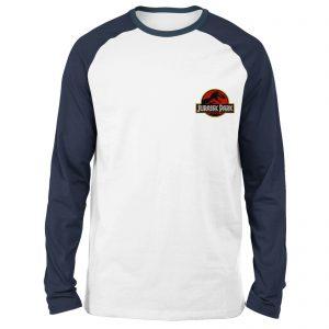 Jurassic Park Logo Embroidered Unisex Long Sleeved Raglan T-Shirt – White/Navy – S