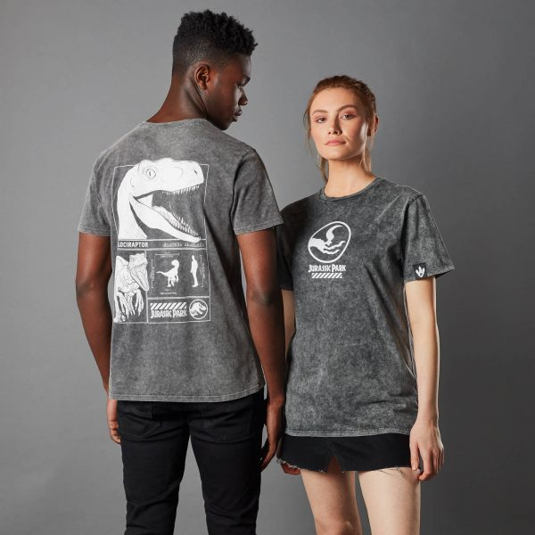 Jurassic Park Primal Raptor Unisex T-Shirt - Black Acid Wash - S - Black Acid Wash