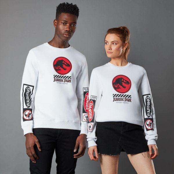 Jurassic Park Primal Warning Unisex Sweatshirt - White - S - White