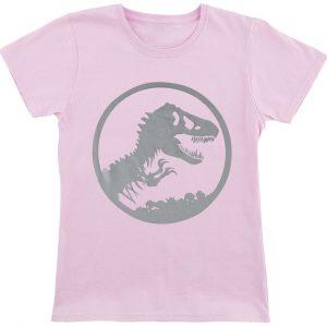 Jurassic Park Silver Logo T-Shirt Pink