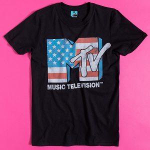 MTV American Flag Logo Black T-Shirt