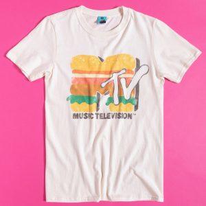 MTV Burger Logo Ecru T-Shirt