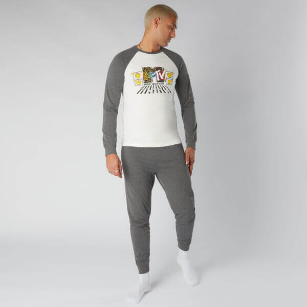 MTV Decks Men's Pyjama Set - Grey - S - Grey