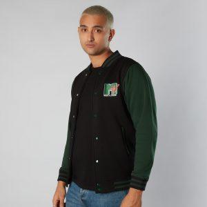 MTV Logo Unisex Varsity Jacket – Black / Green – S – Black