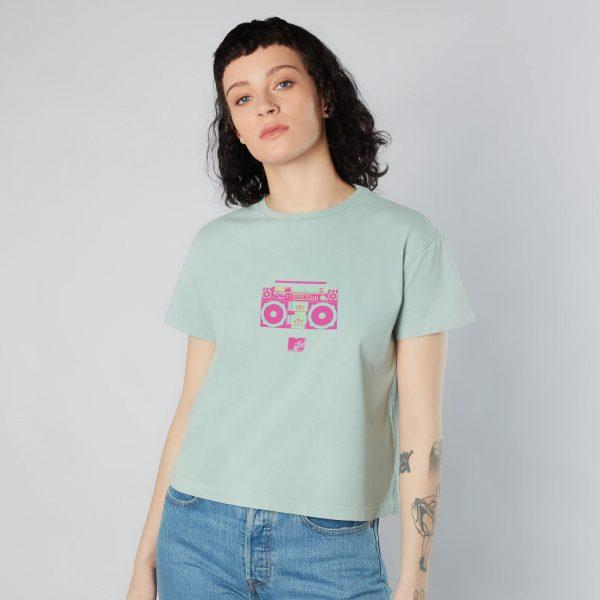 MTV Stereo Women's Cropped T-Shirt - Mint Acid Wash - XS - Mint Acid Wash