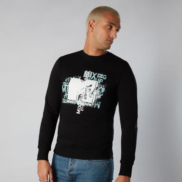 MTV Typography Sweatshirt - Black - S - Black
