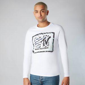 MTV Zebra Pattern Unisex Long Sleeve T-Shirt – White – XS – White