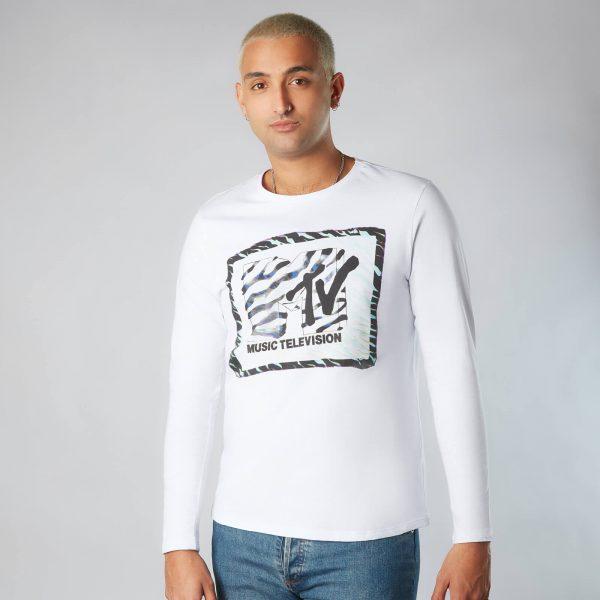 MTV Zebra Pattern Unisex Long Sleeve T-Shirt - White - XS - White