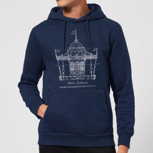 Mary Poppins Carousel Sketch Christmas Hoodie – Navy – S – Navy
