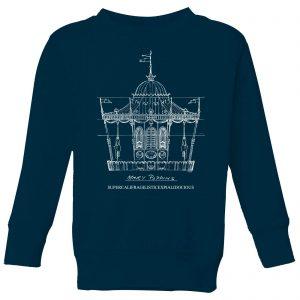 Mary Poppins Carousel Sketch Kids' Christmas Sweatshirt – Navy – 9-10 Years – Navy