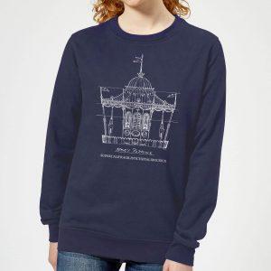 Mary Poppins Carousel Sketch Women's Christmas Sweatshirt – Navy – XS