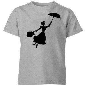 Mary Poppins Flying Silhouette Kids' Christmas T-Shirt – Grey – 3-4 Years – Grey