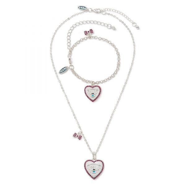 Me To You Tatty Teddy Heart Bracelet and Pendant Necklace Set