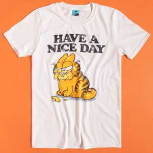Men's Garfield Have A Nice Day Ecru T-Shirt