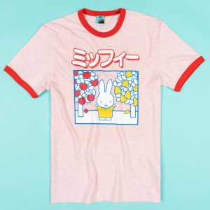 Miffy Japanese Print Pink And Red Organic Ringer T-Shirt
