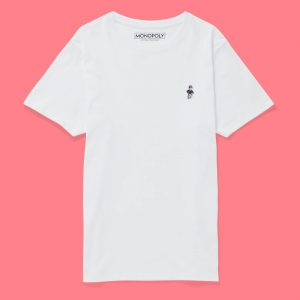 Monopoly Mr Monopoly Embroidered T-Shirt – White – S – White