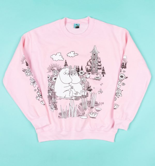 Moomins Scene Pink Sleeve Print Sweater