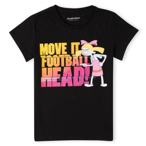 Nickelodeon Hey Arnold Move It Football Head Women's T-Shirt - Black - XS - Black