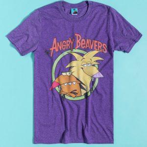 Nickelodeon The Angry Beavers Purple Marl T-Shirt
