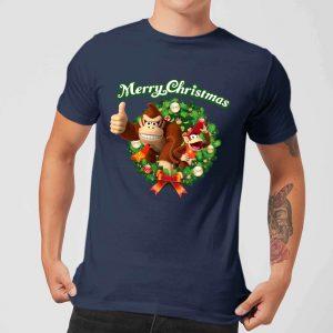 Nintendo® Donkey Kong Diddy Kong Merry Christmas Wreath Thumbs Up T-Shirt – Navy – S