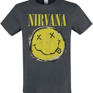 Nirvana Amplified Collection – Worn Out Smiley T-Shirt Charcoal