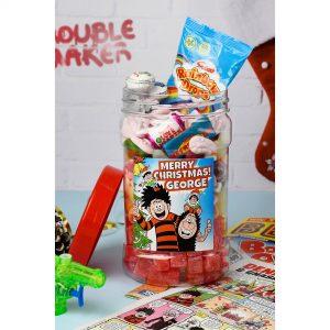 Personalised Beano Merry Christmas Sweet Jar