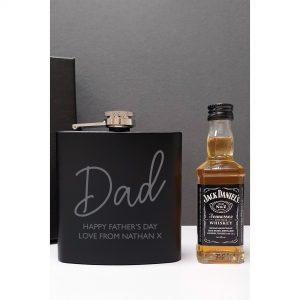 Personalised Black Hip Flask And Miniature Jack Daniels