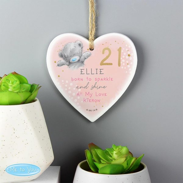 Personalised Me To You Sparkle and Shine Birthday Wooden Heart Decoration