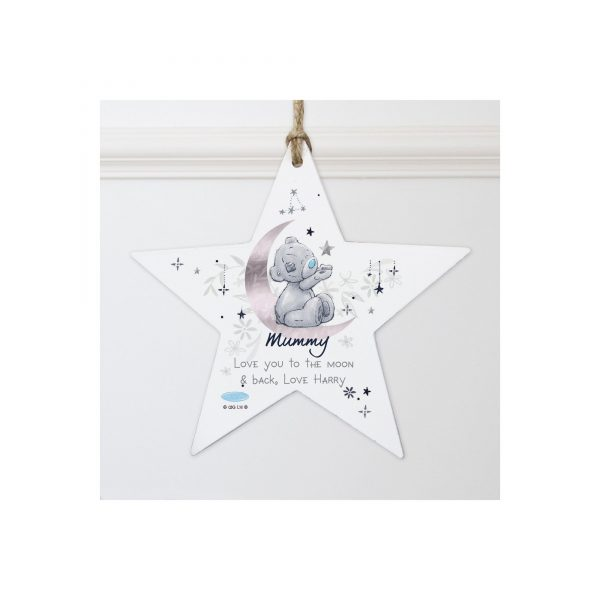 Personalised Me to You Moon and Stars Wooden Star Decoration