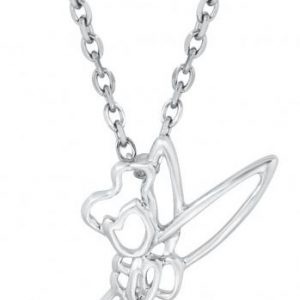 Peter Pan Disney By Couture Kingdom – Tinkerbell Outline Necklace Silver Coloured