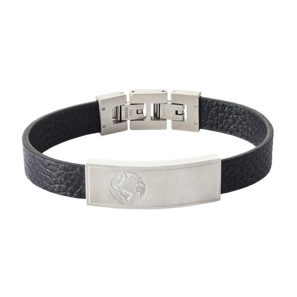 Revere Men's 'You Mean World To Me' Beaded Leather Bracelet