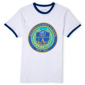 Riverdale Riverdale High Unisex Ringer T-Shirt – White / Blue – XS – White