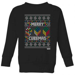 Rubiks Merry Cubemas Kids Christmas Sweatshirt – Black – 3-4 Years