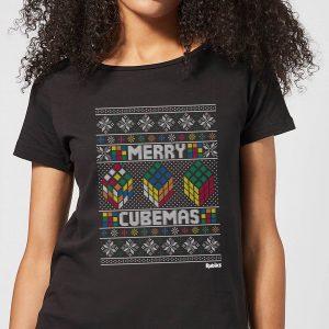 Rubiks Merry Cubemas Women's Christmas T-Shirt – Black – S – Black