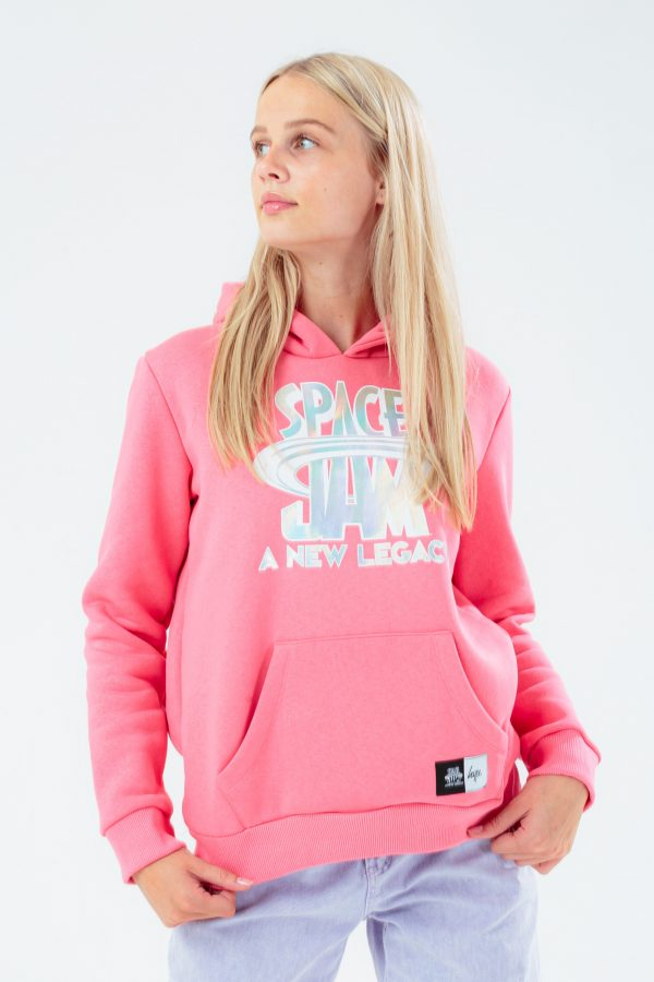 SPACE JAM X HYPE. PINK HOLOGRAPHIC KIDS PULLOVER HOODIE