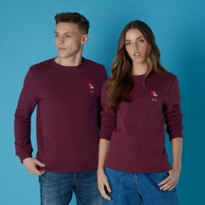 Sega Knuckles Retro Unisex Sweatshirt – Burgundy – S – Burgundy