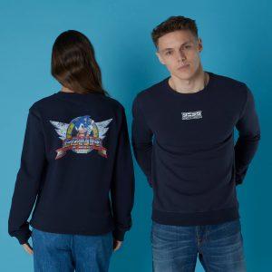 Sega Sonic Distressed Start Screen Unisex Sweatshirt – Black – S