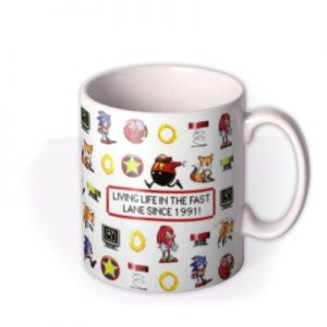 Sega Sonic Pixel Art Living Life In The Fast Lane Mug By Moonpig, Gift Set – Delivery Available