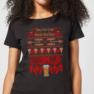 Shaun Of The Dead You've Got Red On You Christmas Women's T-Shirt – Black – S – Black