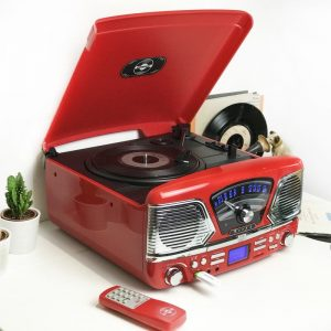 Steepletone 1960's Roxy 4 BT Retro Music System – Red