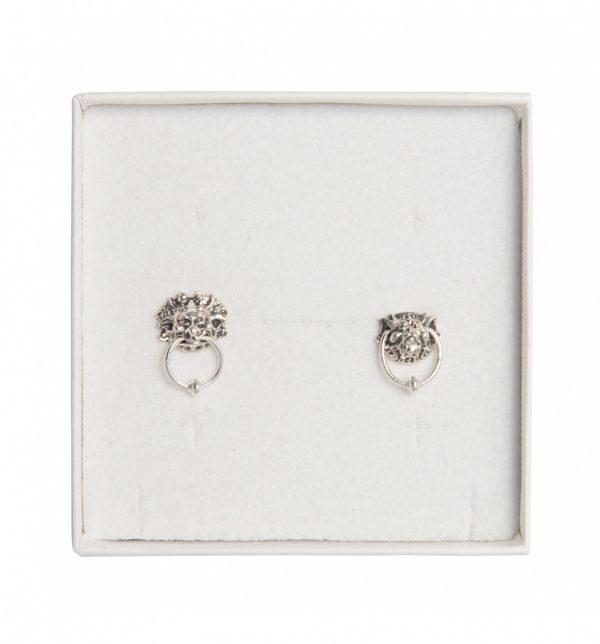 Sterling Silver Labyrinth Door Knocker Stud Earrings