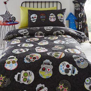 Sugar Skulls Single Duvet Cover And Pillowcase Set