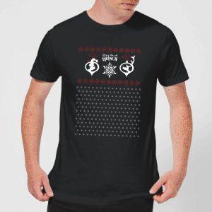 The Grinch Pattern Men's Christmas T-Shirt – Black – XS – Black
